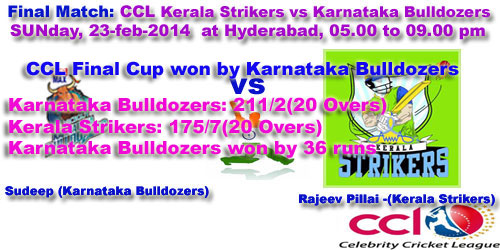 CCL Final Cup won by Karnataka Bulldozers - 2014